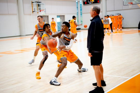 Tennessee guard Jordan Bowden (23) and Tennessee guard Jalen Johnson (13) drill during a Tennessee mens basketball media day practice inside Pratt Pavilion in Knoxville, Tenn. on Friday, October 11, 2019.
