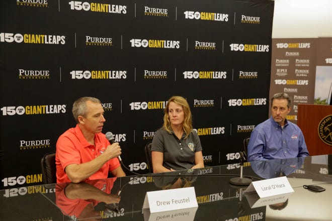 From left, Drew Feustel, Loral O'Hara and Drew Feustel, answer questions from the media, Friday, Oct. 11, 2019 at Purdue University in West Lafayette.