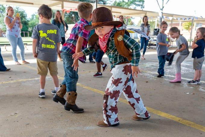 Hunter Menard  at the L. Leo Judice Elementary annual Reading Rodeo. Friday, Oct. 11, 2019.