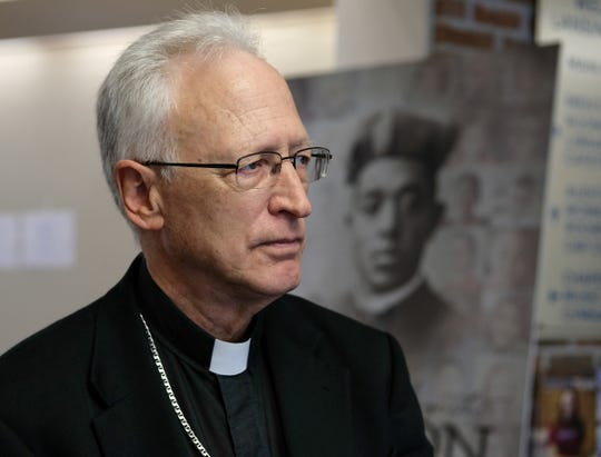 Bishop Boyea from the Diocese of Lansing, talks about efforts to attract more minority students and announces two new scholarships at a news conference Friday, Oct. 11, 2019.