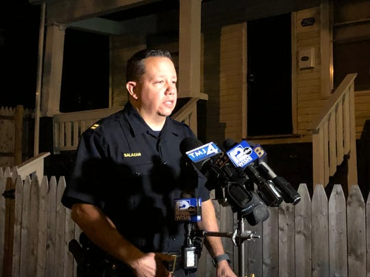 Capt. David Salazar of the Milwaukee Police Department speaks at a news conference Thursday night in the 2500 block of North 38th Street, where four people were shot, including two children. One adult victim died from injuries.