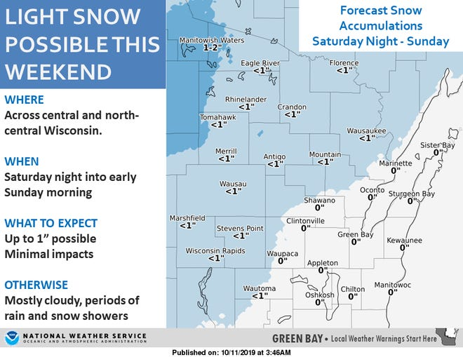 Snow is possible this weekend across central and north-central Wisconsin.