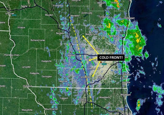 This radar image shows a strong cold front as it moved across southern Wisconsin on Friday. The cold front is shown as a fine line on the radar image  just ahead of the yellow dashed line.