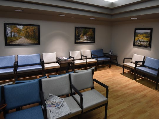 The radiology waiting room at Baxter Regional Medical Center was renovated earlier this year through a donation by Ray and Ann Glueck. The new waiting room features cozier colors, new furniture and photographs from around northern Arkansas.