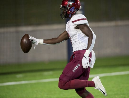 Prattville linebacker Ian Jackson (3) returns an interception for a touchdown at Cramton Bowl in Montgomery, Ala., on Thursday, Oct. 10, 2019. Prattville leads Jeff Davis 34-0 at halftime.