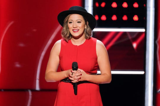 "Lauren Hall, a Ball State alumna, performing on 'The Voice' on Oct. 7. Hall sang ""One and Only""  for her blind audition, earning her a spot on Kelly Clarkson's team."