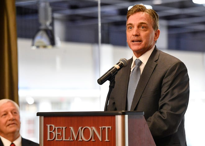 Mark Ezell, Tennessee Commissioner of Tourist Development, speaks at the 2020 Presidental Debate announcement Friday, Oct. 11, 2019, at Curb Event Center at Belmont University in Nashville, Tenn.