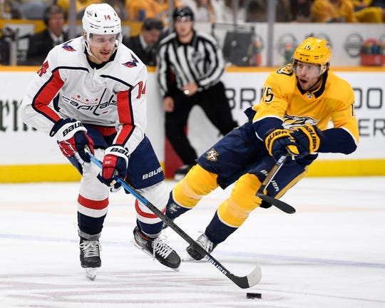 Washington Capitals right wing Richard Panik (14) advances past Nashville Predators right wing Craig Smith (15) during the second period at on Thursday.