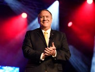 Secretary of State Michael R. Pompeo speaks at the American Association of Christian Counselors (AACC) World Conference at the Gaylord Opryland Convention Center Friday, Oct. 11, 2019 in Nashville, Tenn.
