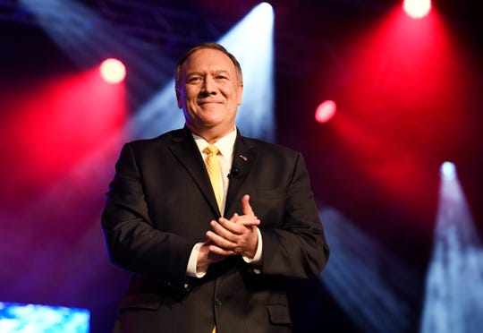 Secretary of State Michael Pompeo speaks at the Gaylord Opryland Convention Center on Friday in Nashville.