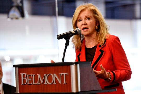 U.S. Sen. Marsha Blackburn speaks at the 2020 Presidental Debate announcement Friday, Oct. 11, 2019, at Curb Event Center at Belmont University in Nashville, Tenn.