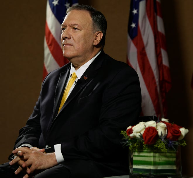 Secretary of State Michael R. Pompeo responds to questions from The Tennessean before delivering remarks at the American Association of Christian Counselors (AACC) World Conference at the Gaylord Opryland Convention Center Friday, Oct. 11, 2019 in Nashville, Tenn.