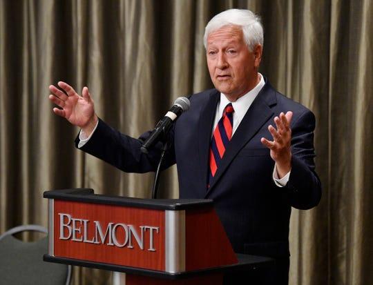 Belmont University President Bob Fisher speaks at the 2020 Presidental Debate announcement Friday, Oct. 11, 2019, at Curb Event Center at Belmont University in Nashville, Tenn.