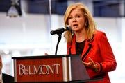 U.S. Sen. Marsha Blackburn speaks at the 2020 Presidental Debate announcement Friday, Oct. 11, 2019, at Curb Event Center at Belmont University in Nashville, Tenn.