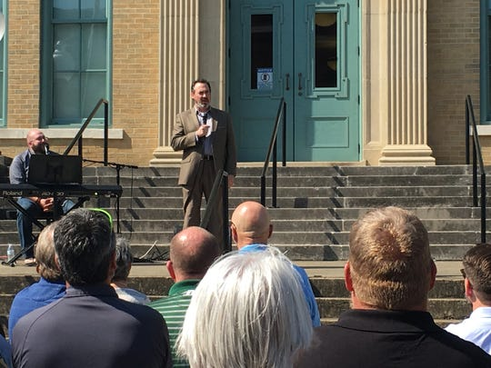 First United Methodist Church Springfield Associate Pastor Jason Wilkerson speaks to the crowd gathered before the courthouse for the governor's Day of Prayer and Fasting on Oct. 10, 2019.
