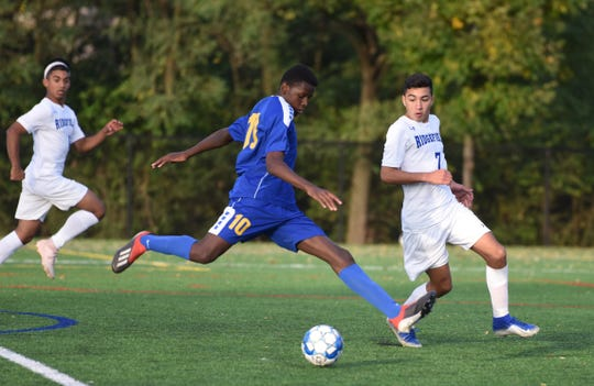 Lyndhurst's Enrique Mutsoli winds up as Ridgefield boys soccer routed Lyndhurst in a surprise upset on Oct. 10, 2019.