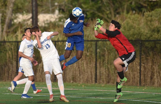 Lyndhurst's Enrique Mutsoli goes for the header as Ridgefield boys soccer routed Lyndhurst in a surprise upset on Oct. 10, 2019.