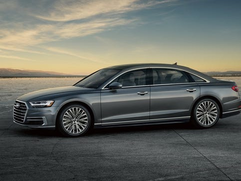The 2019 Audi A8 L Quattro has a turbocharged 3.0-liter V6 engine, then adds a small 48-horsepower electric motor — a so-called mild hybrid — to provide a bit of boost when needed.