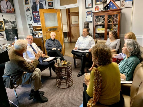 Mayor Michael Wildes, members of the Englewood Historical Society and representatives from The Community Synagogue of Tenafly and Englewood meet on Oct.  4 to discuss plans for the Taylor Bliss house.
