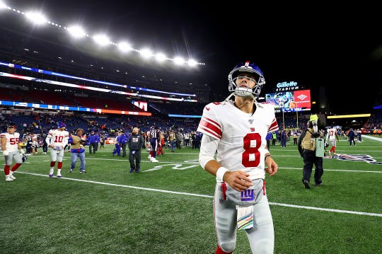 OCTOBER 10: Daniel Jones #8 of the New York Giants reacts after being defeated by the New England Patriots in the game at Gillette Stadium on October 10, 2019 in Foxborough, Massachusetts.