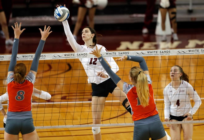 New Mexico State's Megan Hart delivers a kill during the Aggies' 3-0 win over UTRGV on Thursday, Oct. 3, at the Pan American Center.
