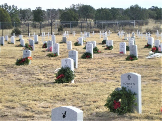 Wreaths were placed at every grave in Fort Stanton military cemetery last year.