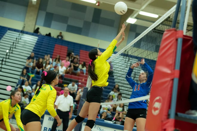 Marcela Sanchez of Coachella Valley goes up for the ball against Indio on Thursday.