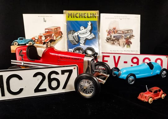 Model cars come in all sizes. The tether car replica at left reflects a popular but short-lived pastime in the 1930s.