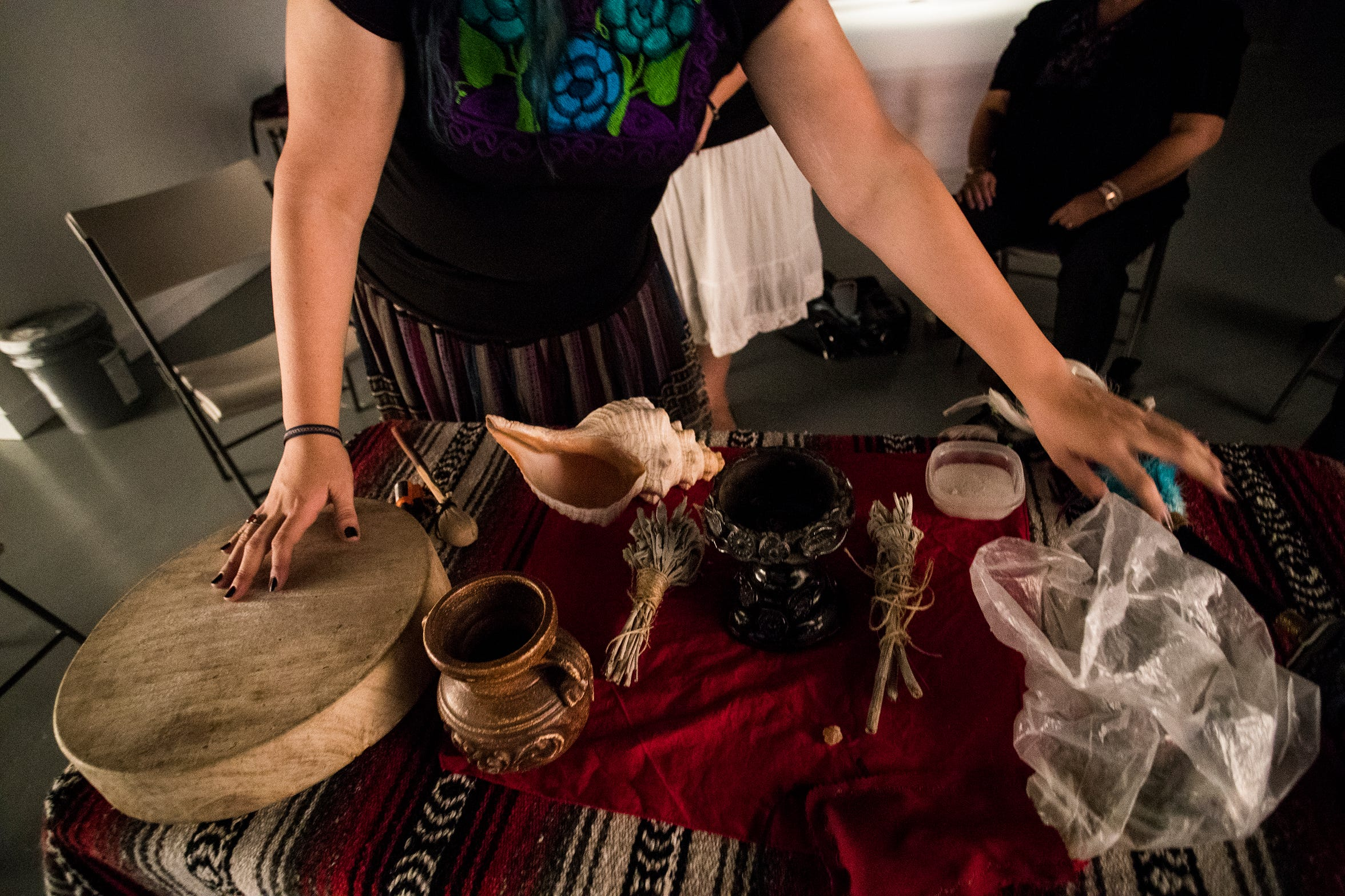 Gabby Armenta uses copal to cleanse herself during a healing circle.