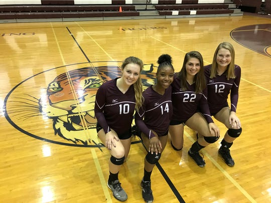 Pensacola High volleyball leaders (L to R) Caroline Pollitt, Akelah Reeves, Leah Rodgers and Taylor Hall have the Tigers confident heading into the District 1-4A tournament next week.