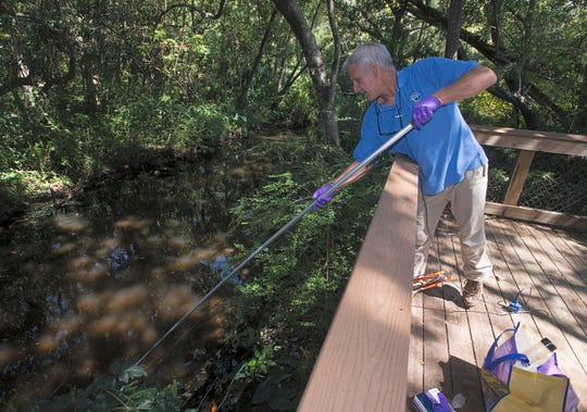 Dana Morton, Escambia County environmental program manager, tests the water quality in the watershed off of Maggie's Ditch on Sept. 20.