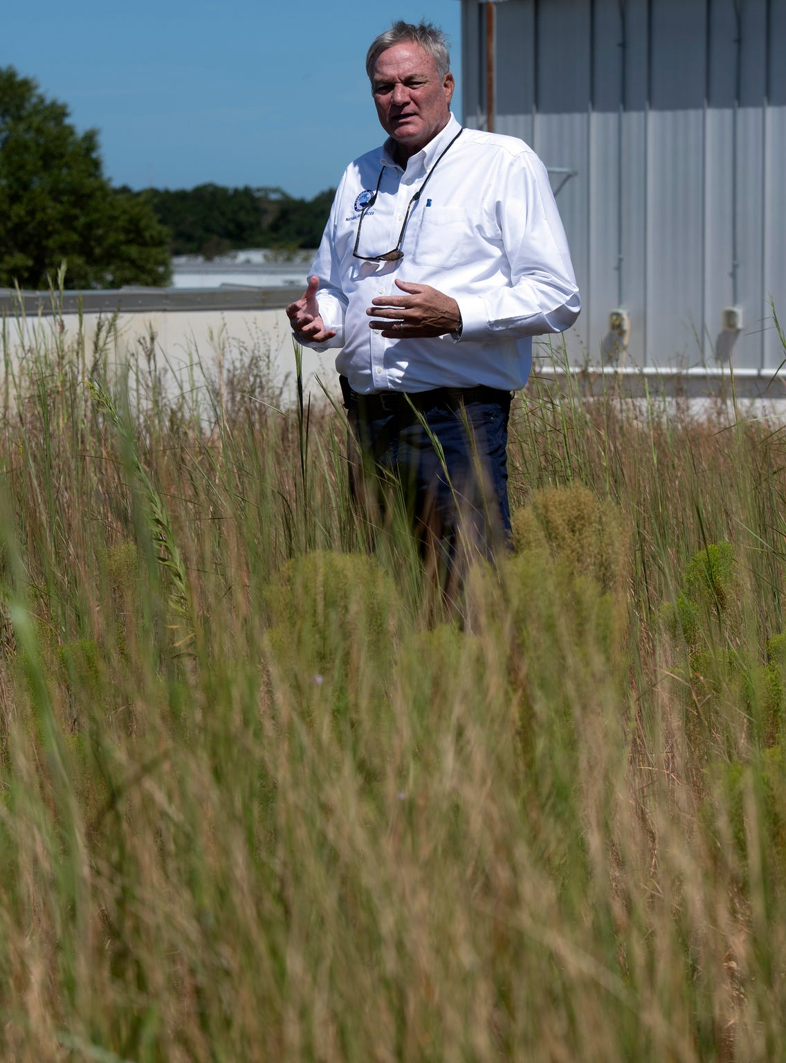 Escambia County Natural Resources Management Director Chips Kirschenfeld describes the advantages of having a green roof during a tour of the county central office complex off Fairfield Drive on Friday, Sept 20, 2019.