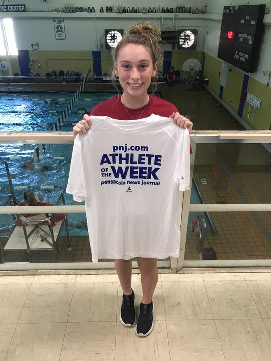 Tate sophomore diver Elise Grissom claimed PNJ Athlete of the Week for her win at the Northwest Florida Invitational last week.