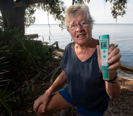 Jackie Lane shows off the pH levels of Perdido Bay from a test taken Oct. 3. The longtime resident and environmentalist has been keeping tabs on the water quality of Perdido Bay for decades.