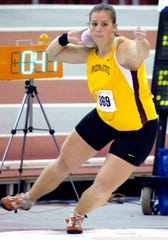 Arizona State's Sarah Stevens prepares to throw during the finals of the shot put competition at the NCAA Division I Indoor track and field championships in Fayetteville, Ark., Saturday, March 15, 2008. Stevens finished second with a throw of 57 feet, 10-1/2 inches.