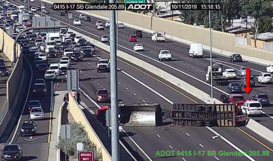 Overturned semi at Interstate 17 and Glendale Avenue