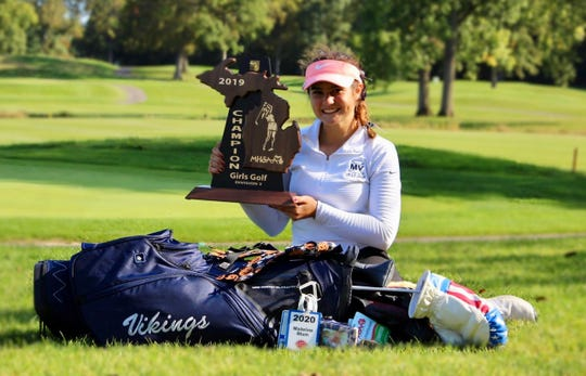 Marysville senior Madeline Blum was the individual Division 3 girls golf regional champion Thursday, Oct. 10, 2019, at Fieldstone Golf Club in Auburn Hills.