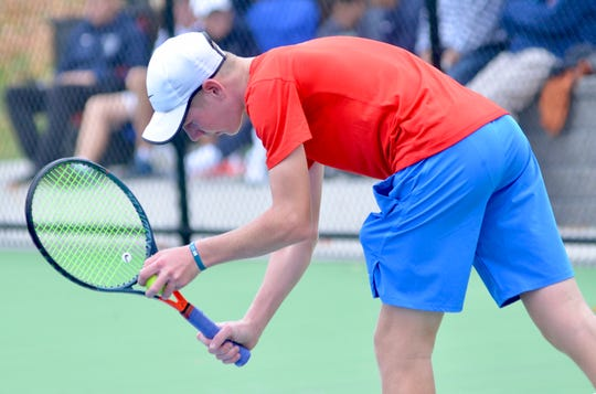 St. Clair boys tennis player Derek Distelrath competes in the Division 3 regional on Friday, Oct. 11, 2019.