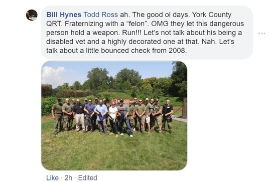 Think Loud Development CEO Bill Hynes on Oct. 11, 2019, posted this photo of himself, two members of the band Live and members of the York County Quick Response Team at a shooting range in 2012.  Federal law prohibits convicted felons from possessing or handling firearms.