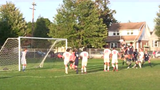 West York boys' soccer's Jake Altimore headed in a corner kick from Owen Jury with 30 seconds left in regulation in a 2-2 tie with undefeated Susquehannock Thursday.