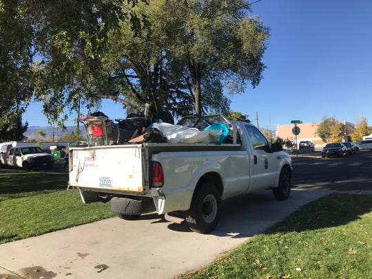 A city of Reno truck filled with stuff gathered from Pickett Park.