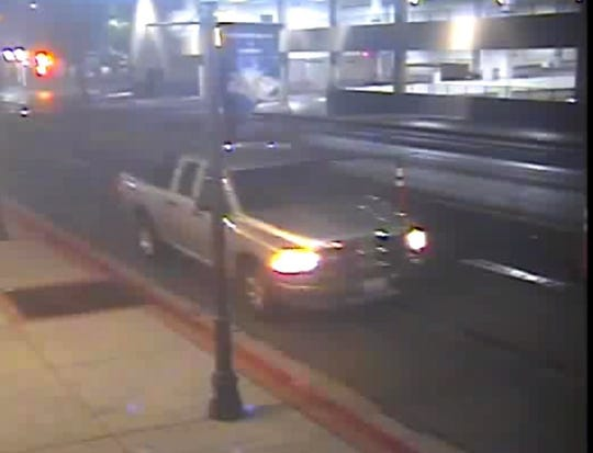 The Reno Police Department released a photograph of a silver pickup truck seen fleeing from the scene of a hit and run crash on Saturday, Sept. 28, 2019. Authorities are searching for the driver.