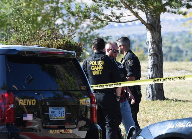 Reno police investigate a shoot that happened in the empty lot across from 666 California Avenue on Friday Oct. 11, 2019.