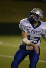 Richland Springs spread back Tyler Ethridge fires a pass downfield in this file photo. His 230 career touchdown passes are the most in the history of high school football.