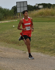Rocksprings High School's Chris Flores runs to a first-place finish in the boys division at the Sonora Cross Country Monday, Sept. 7, 2019 at the Sonora Golf Course.