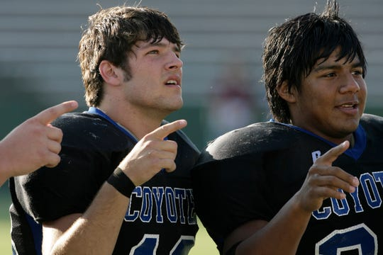 Tyler Ethridge (left) lost only one game in his high school football career, leading Richland Springs to state titles in 2004, '06 and '07.