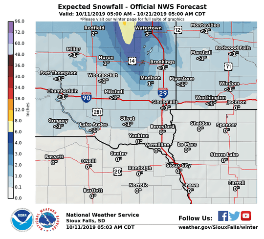 Sioux Falls is expected to see less than an inch of snow between Friday and Oct. 21, as the last of the first winter storm of the season passes through South Dakota this weekend.