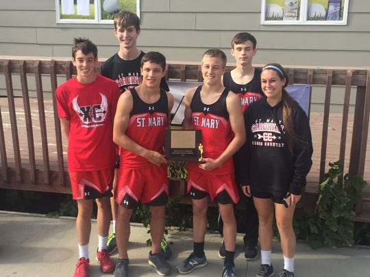 Dell Rapids St. Mary won the boys Dakota Valley Conference cross country meet last week. Members on the team include (left-to-right): Noah Reiff, Thomas Eining, Connor Libis, Jacob Vogel, Seth Roemen and head coach Alyssa Brazil.