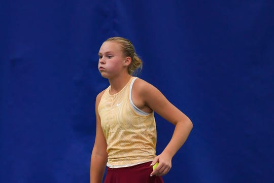 Avery Summers of Roosevelt takes a deep breath before starting a match in the class AA state girls tennis tournament at the Huether Family Match Pointe tennis facility in Sioux Falls.