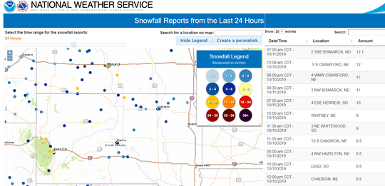 A map by the National Weather Service shows estimated snowfall totals as of 8 a.m. Friday throughout South Dakota, during the first winter storm of the season.